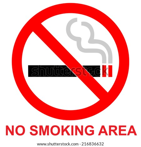 No smoking area sign on white background - stock vector