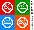 No smoking area - Stickers, vector illustration - stock vector
