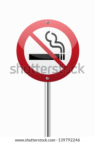 No smoking area traffic sign on white - stock vector