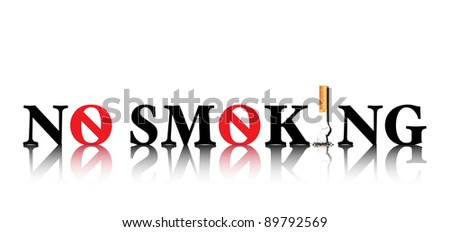 No Smoking concept with the i in smoking being replaced by a stubbed out cigarette and the o being replaced by a forbidden sign. EPS10 vector format. - stock vector