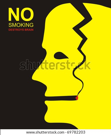 No smoking, nicotine destroys the human brain - stock vector