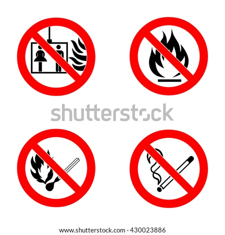 No smoking, No open flame, no matches, no lift. - stock vector