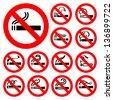No smoking - red symbols, vector illustrations - stock vector