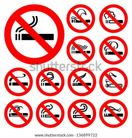No smoking - red symbols, vector illustrations - stock vector
