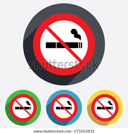No Smoking sign icon. Cigarette symbol. Red circle prohibition sign. Stop flat symbol. Vector - stock vector