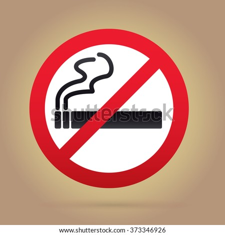 No smoking sign. Rounded. Gold Backround.