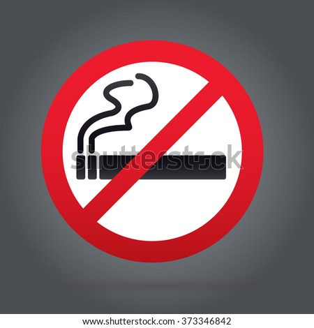 No smoking sign. Rounded. Gray Backround.