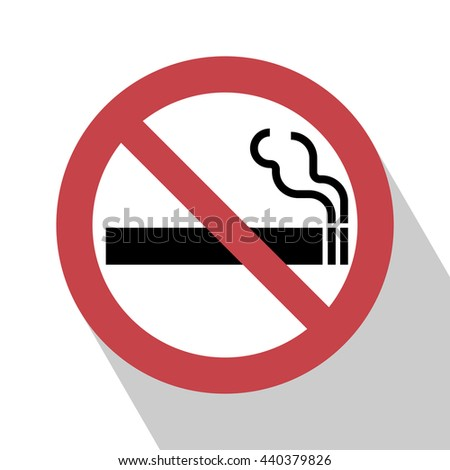 No Smoking Sign. Vector illustration. All in a single layer. Elements for design. Symbol with Long Shadow. - stock vector