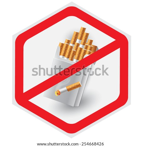 No, smoking, sign, vector, illustration, hexagon  - stock vector