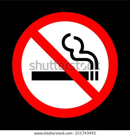 No smoking sign vector on black background - stock vector