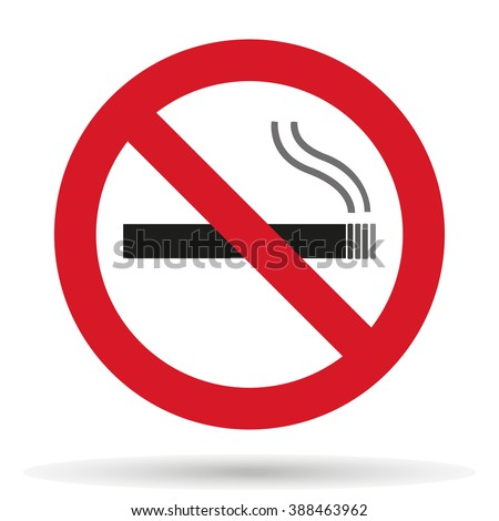 No smoking sign with shadow on a white background, stylish vector illustration