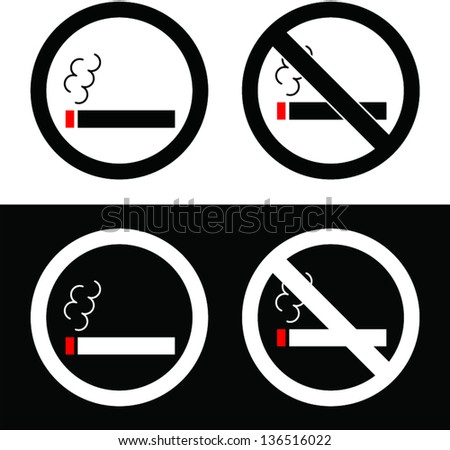 No Smoking & Smoking Signs On Black & White Backgrounds - stock vector
