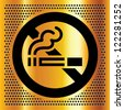 No smoking symbol on a gold backdrop. Vector illustration. - stock vector