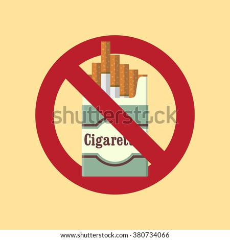 No smoking/The problem of smoking/No smoking icon/No smoking background/The crossed pack of cigarettes on yellow background/Cigarettes pack/Smoking kills/Vector illustration/Flat icon - stock vector