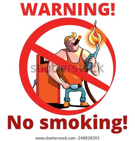No smoking warning vector sign, for gas stations - stock vector