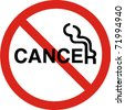 No smoking with cancer sign in vector - stock vector