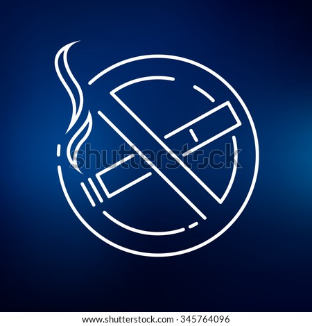 No smoking zone icon. Smoking prohibited area sign. No cigarette symbol. Thin line icon on blue background. Vector illustration. - stock vector