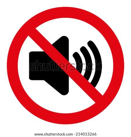 No Sound Sign - stock vector