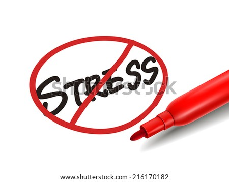 no stress word with a red marker over white - stock vector