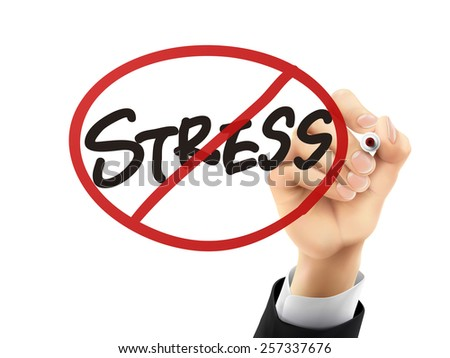 no stress words written by hand on a transparent board - stock vector