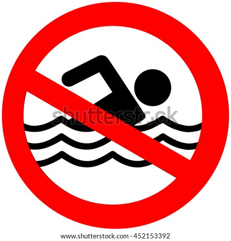 No swimming hazard ,warning sign - stock vector