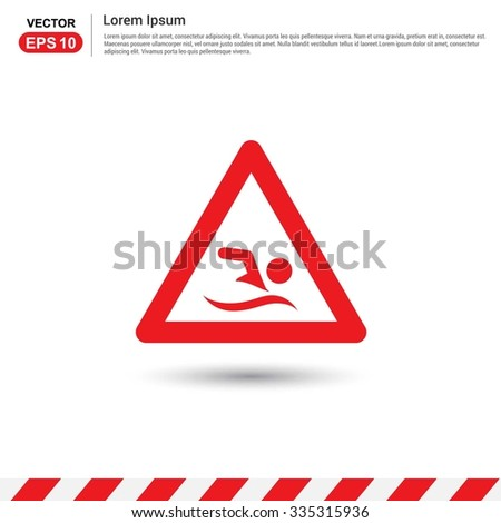 No swimming - Red triangle Traffic sign icon