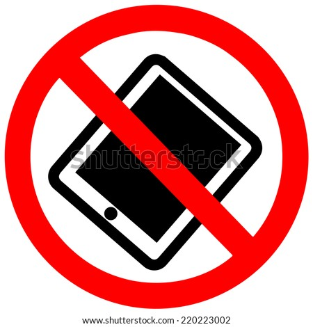 No Tablet PC sign on a white background - stock vector