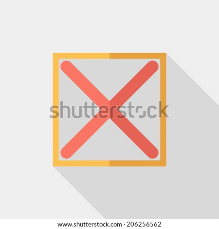 No tick icon. Flat design style modern vector illustration. Isolated on stylish color background. Flat long shadow icon. Elements in flat design. - stock vector