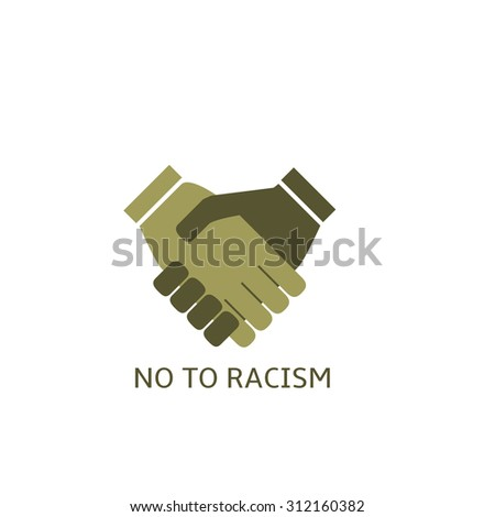 No to racism label, tolerance concept. Handshake symbol - stock vector