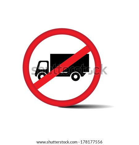 No Trucks Allowed sign isolated on white background - Vector. - stock vector