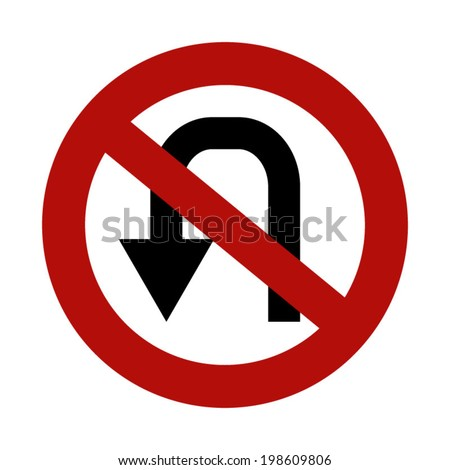 No U Turn - stock vector
