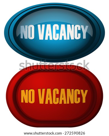 No Vacancy Glossy Red and Blue Signs, Vector Illustration.  - stock vector