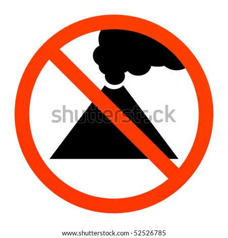 No volcano or smoke sign, vector illustration