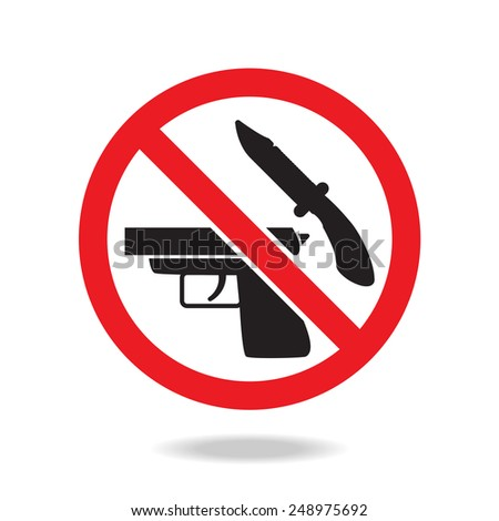 No weapons sign and symbol  - stock vector
