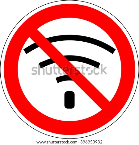 No wifi. Bad internet connection sign. No signal, bad antenna, no wifi, no wireless connection symbol. No Wifi sign. Wi-fi symbol. Wireless Network icon. Red prohibition sign. Stock Vector ilustration