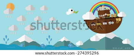 Noah ark on Ararat mountain with rainbow promise bible story in genesis with shadow cartoon vector illustration for study with family Shem Ham Japheth and two of every sort male and female by obey God - stock vector