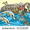 Noah fishes of the side of his Ark while dolphins play. - stock photo