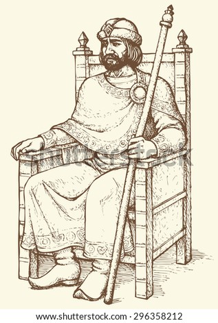 Noble great wise bearded aged Knyaz of Kievan Rus sit on luxury ornate wooden gilded seat with regal rod in hand and hat. Vector freehand ink drawn background sketch in art antiquity engraving style - stock vector