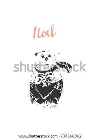 noel hand drawn merry christmas greeting stock vector 2018