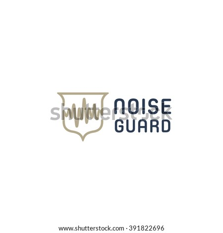 Noise Guard Original Conceptual Simple Minimal Symbol Composed of Shield & Sound Wave Image. Memorable Visual Metaphor. Represents the Concept of Noise Protection, Silence  etc. - stock vector