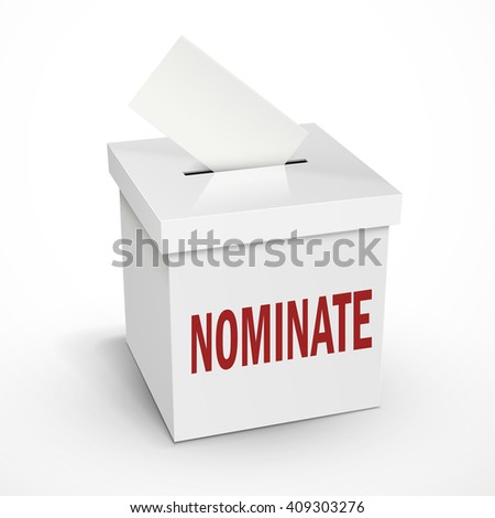 nominate word on the 3d illustration white voting box isolated on white background - stock vector