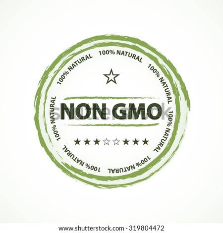 Non gmo green vintage style icon or sticker