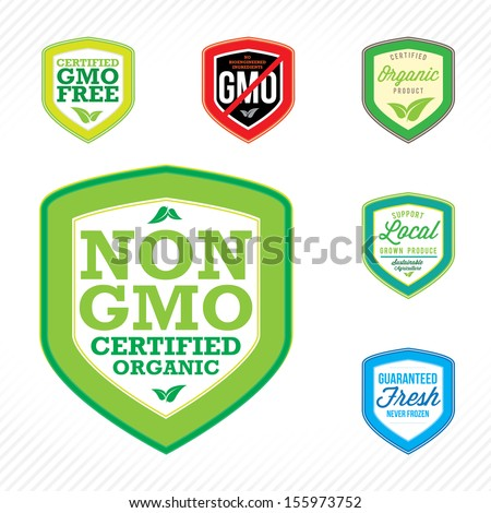 Non GMO or GMO free labels logos to indicate non genetically modified foods or on organic product packaging. - stock vector