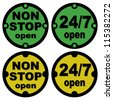 non stop open and twenty-four seven open symbol in green and yellow color - stock photo