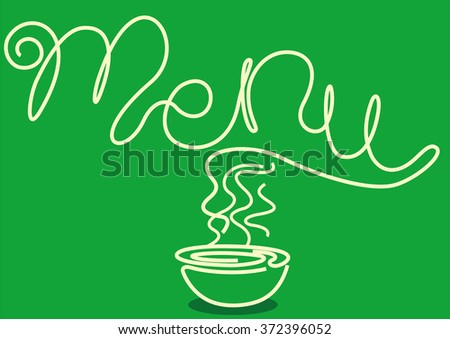 Noodles forming the word 'Menu' - stock vector
