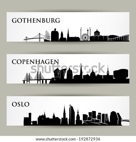 Nordic cities skylines - vector illustration - stock vector