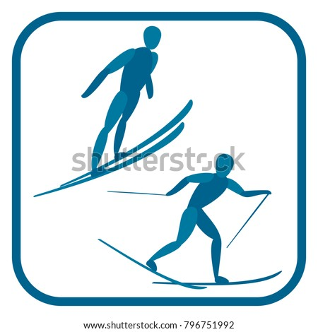 Nordic combined emblem. Two color icon of the sportsman. One of the pictogram from winter sports icons set. Vector illustration EPS-8.