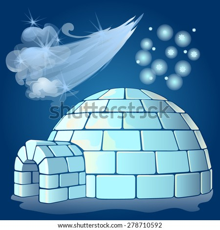 Nordic landscape with igloo - stock vector