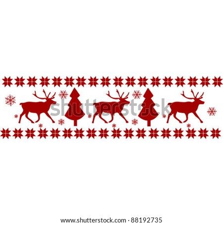 Nordic pattern with deer silhouettes - stock vector