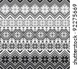 Nordic traditional pattern with snowflakes, white and grey design, full scalable vector graphic, all elements are grouped for easy editing - stock vector